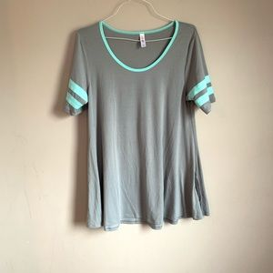 lularoe size large gray and teal perfect tee EUC